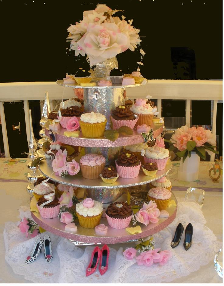 Cupcake tower I made for Dina's wedding shower.