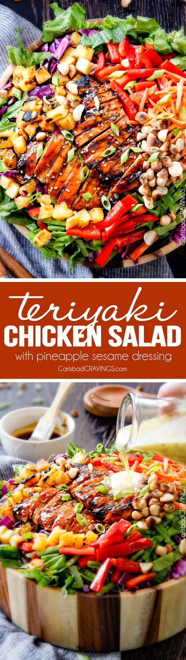 Treat yourself to some snacks! http://amzn.to/2oEqnkm Teriyaki Chicken Salad - This salad is to live for! Packed with refreshing pineapple, macadamia nuts and coconut all doused with the most AMAZING Pineapple Sesame Dressing and the Sweet Chili Teriyaki Chicken is incredible! But my favorite part is you drizzle the leftover Teriyaki glaze all over the salad! Definitely a keeper! via @carlsbadcraving