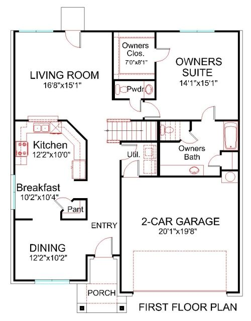 Front Elevation Bedrooms : First floor plan house hsd brick