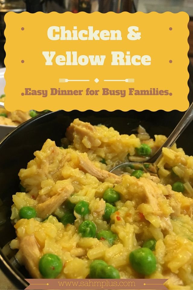 Quick and easy chicken and yellow rice dinner recipe for busy families made with leftover chicken. Perfect comfort food when you're tired of chicken salad.