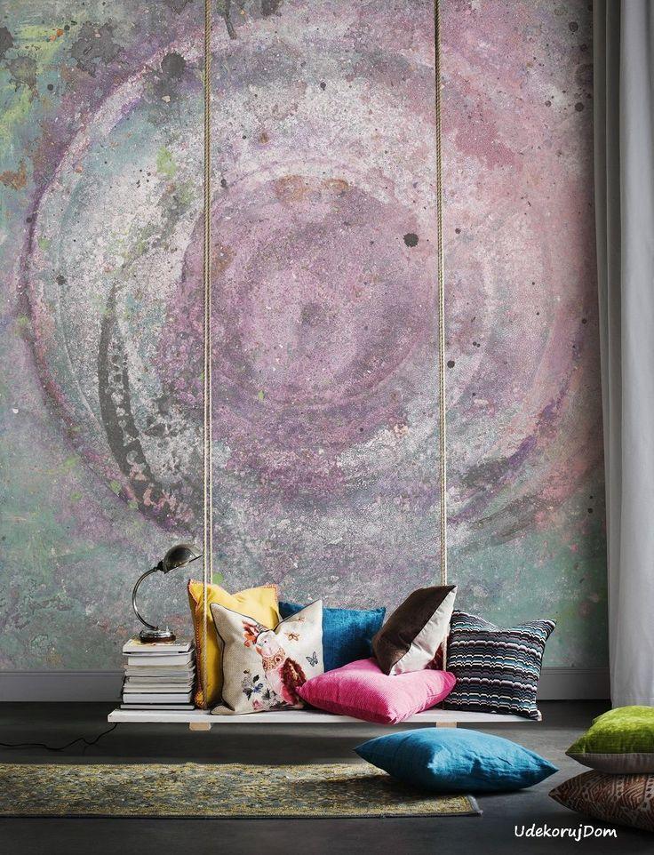 #Fototapeta szaro-różowa ze wzorem betonu / Grey-pin #concretewallpaper #loft