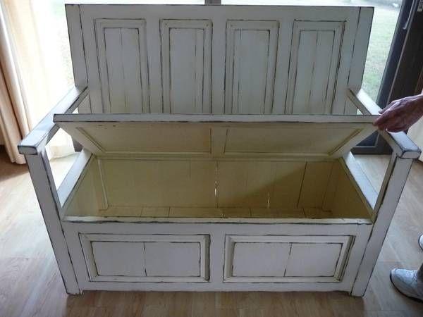 Old door bench with storage