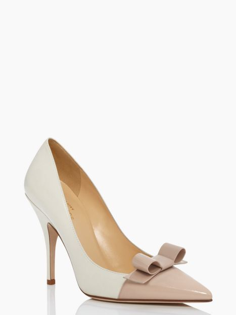 """Kate Spade Lilia heels in Cream/Powder -   MATERIAL nappa and patent leather with nappa covered heels satin bow FEATURES 4"""" heels"""