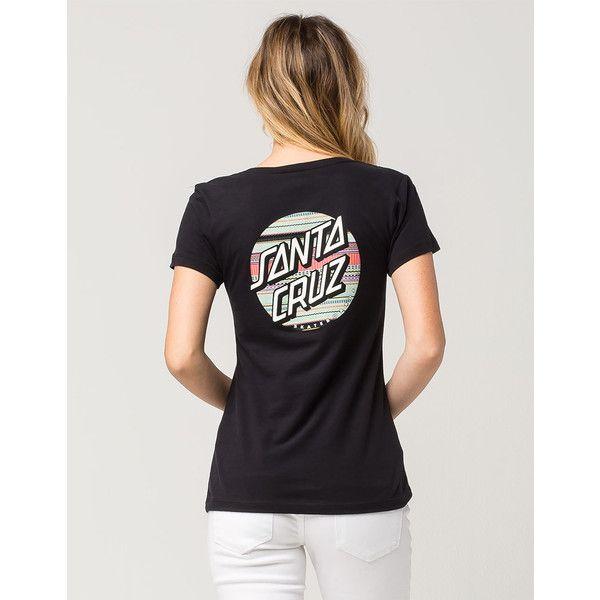 Santa Cruz Textile Dot Womens Tee (520 MXN) ❤ liked on Polyvore featuring tops, t-shirts, polka dot tee, v neck graphic t shirts, polka dot top, short sleeve v-neck tee and v neck graphic tees