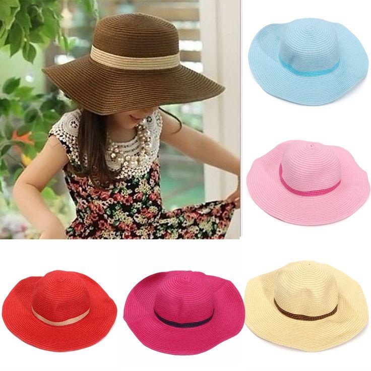 Girls Summer Roll Up Straw Sun Hat Kids Large Wide Brim Bow Beach Cap