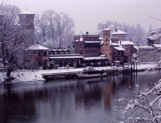 Magical view of Borgo Medievale under the snow - Turin, Piedmont, Italy. 45°04′00″N 7°42′00″E
