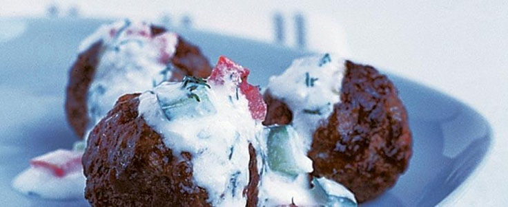 Mediterranean Meatballs with Yogurt & Feta Sauce by ATHENOS