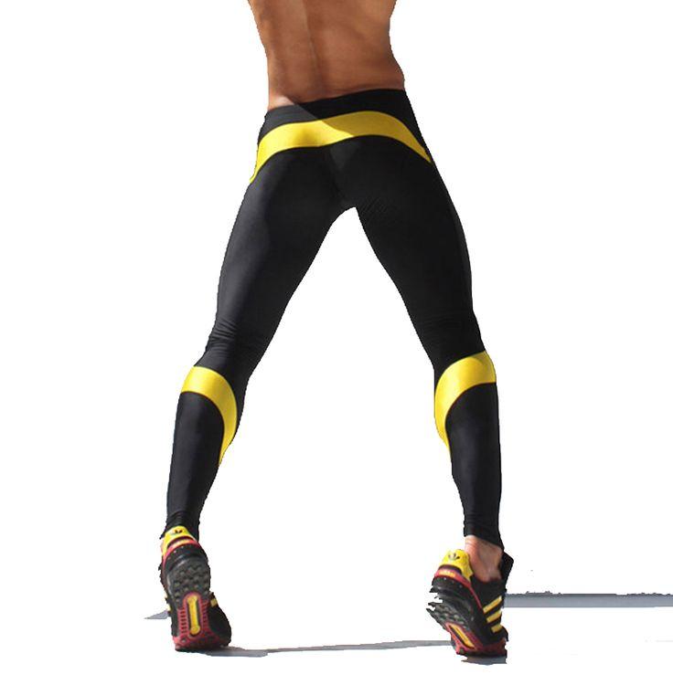 Athletic Men Gym Pants  Mens Yoga Long Pants Elastic Running Pants skinny Legging Sports Tights AQUX  Men Trainning Pants