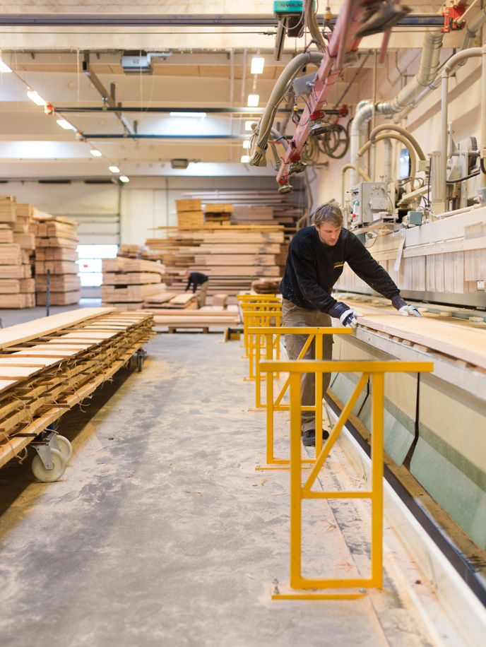 A step in the process of making Dinesen planks