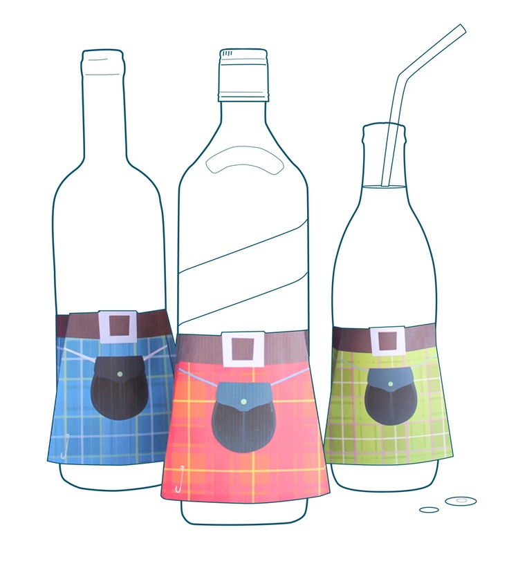 Free printable kilts for Burns Night. A great table decoration for your Burns Supper spread. #kilt https://printablepaperproducts.com/bottle-kilt-tartan-wine-whisky/