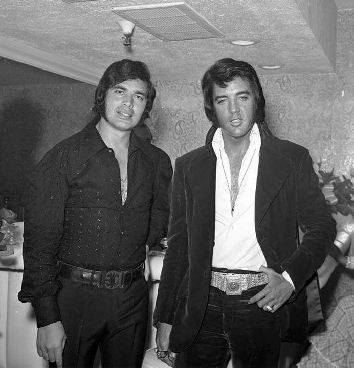 "Backstage at the Riviera Hotel in Las Vegas with Engelbert Humperdink on May 25, 1972    From Elvis Day By - ""Elvis flies to Las Vegas May 24th and on Sunday night attends Glen Campbell's show at the Hilton and on May 30th Elvis returns to LA before flying home to Memphis the following night."" Engelbert Humperdinck performed at the Riviera from May 24th to June 25th"