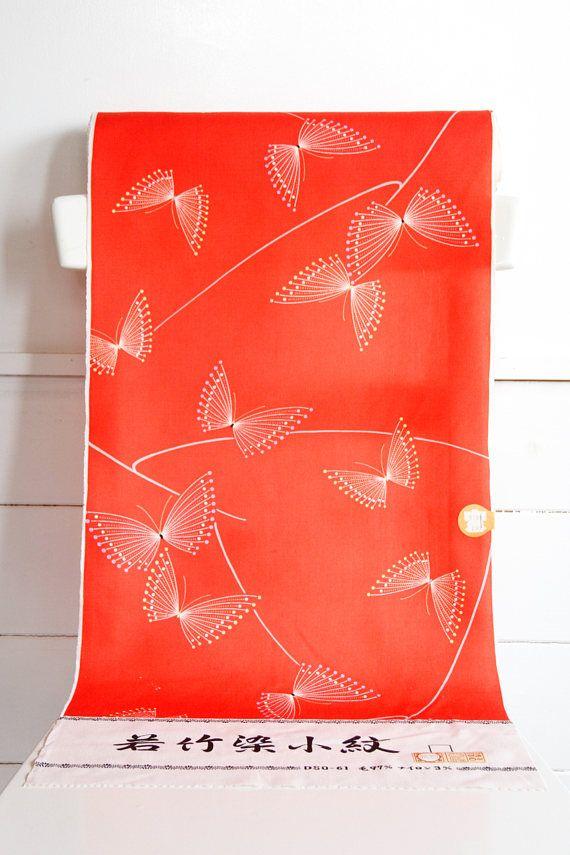Orange Butterfly Japanese Kimono Fabric Bolt Kimono Material