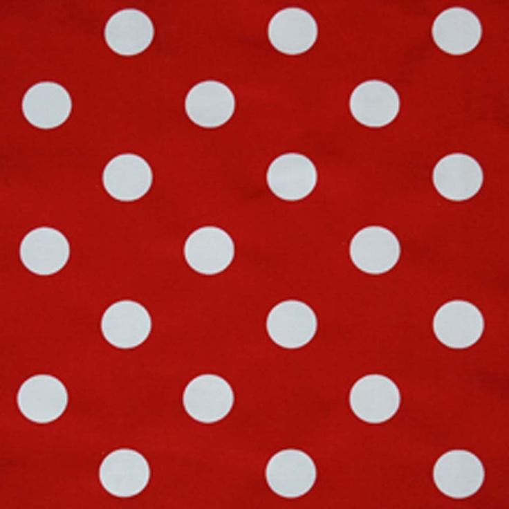 Herhaling - Een rode achtergrond met daarop witte stippen die zich herhalen in een vast patroon - Polka dots