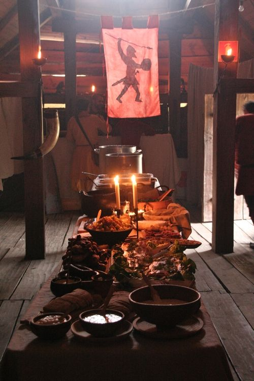 traditional viking feast held in the hall of the chieftain's longhouse