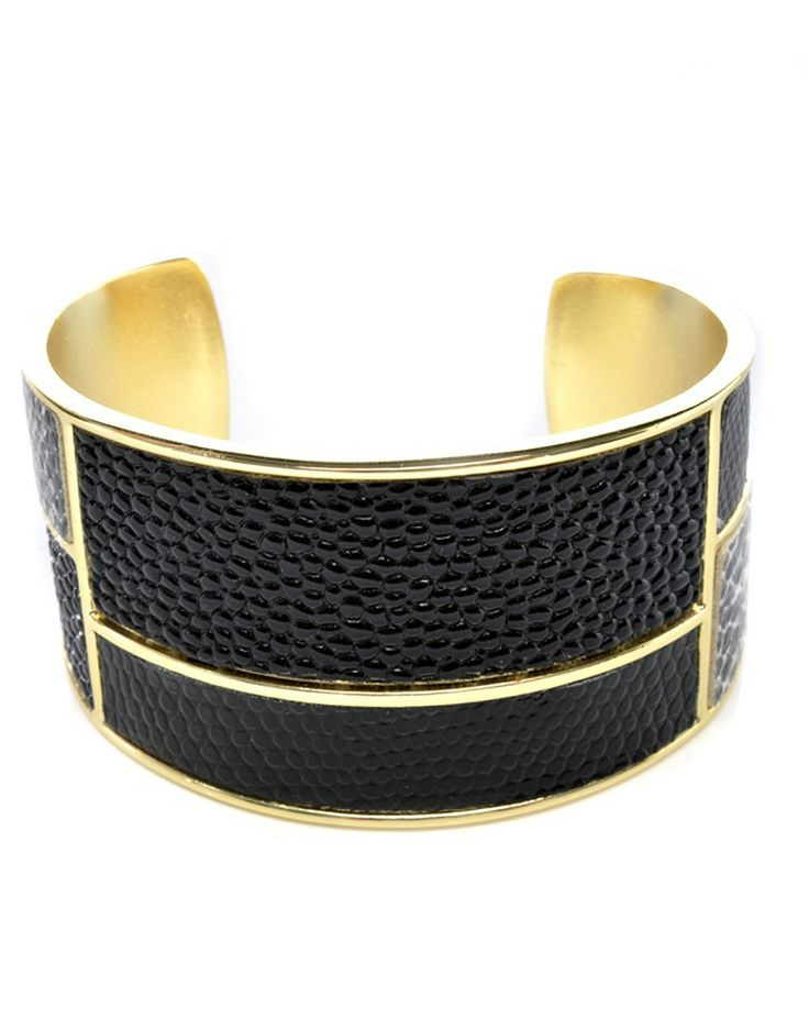 MAJIQUE | Cuff Bracelet in Black and Gold -  - Style36