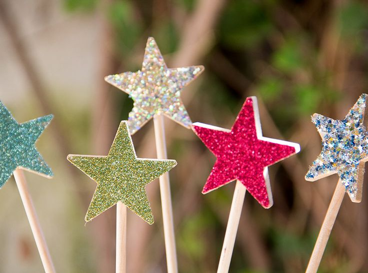 glitter star wand party busdiy