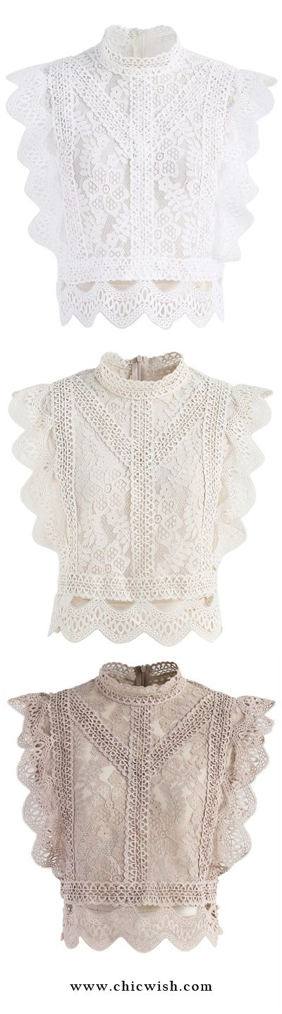 Your Sassy Start Sleeveless Crochet Lace Top in White/ Beige/ Light Tan Find More at Chicwish.com