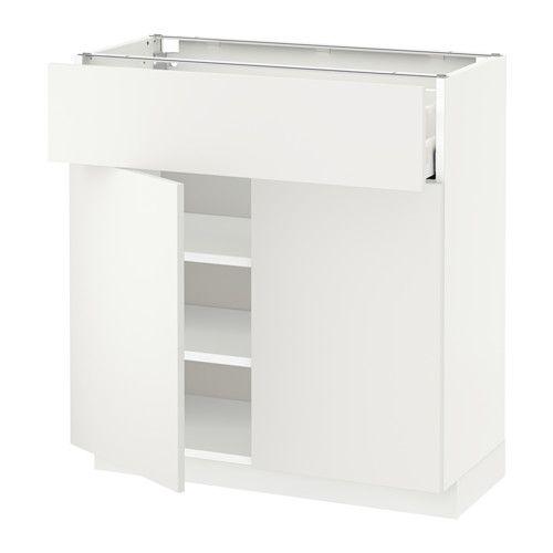 METOD / MAXIMERA Alsószekrény, fiókkal/2ajtóval - fehér, Häggeby fehér, 80x37 cm - IKEA