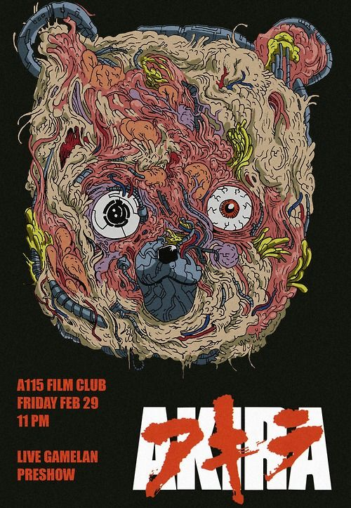 wylderart:  Made a poster for the screening of Akira at the A115 film club! I've been working hard on the pre-show for this weeks screening as well, and its gonna be accompanied by a live Gamelan performance. Undoubtedly it'll be a pretty cool shindig, so you should abandon all plans and come watch one of the most incredible animated movies ever with a bunch of cool people this Friday.