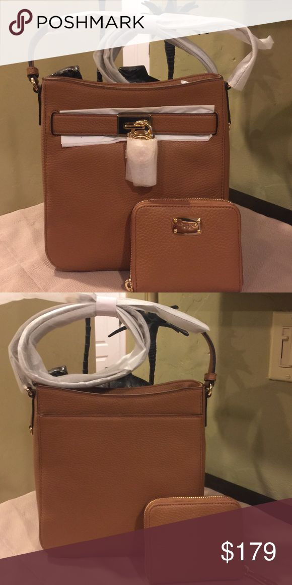 NWT Michael Kors Bag and Wallet Set Beautiful MK Hamilton Traveler Crossbody and matching wallet set in Acorn. Gold lock on front and pocket on back of bag. PRICE FIRM Michael Kors Bags Crossbody Bags