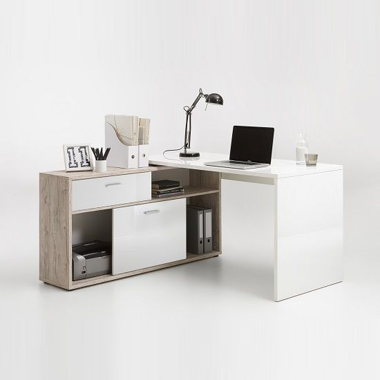 computer table design for office. dalton corner computer desk in sand oak and gloss white table design for office