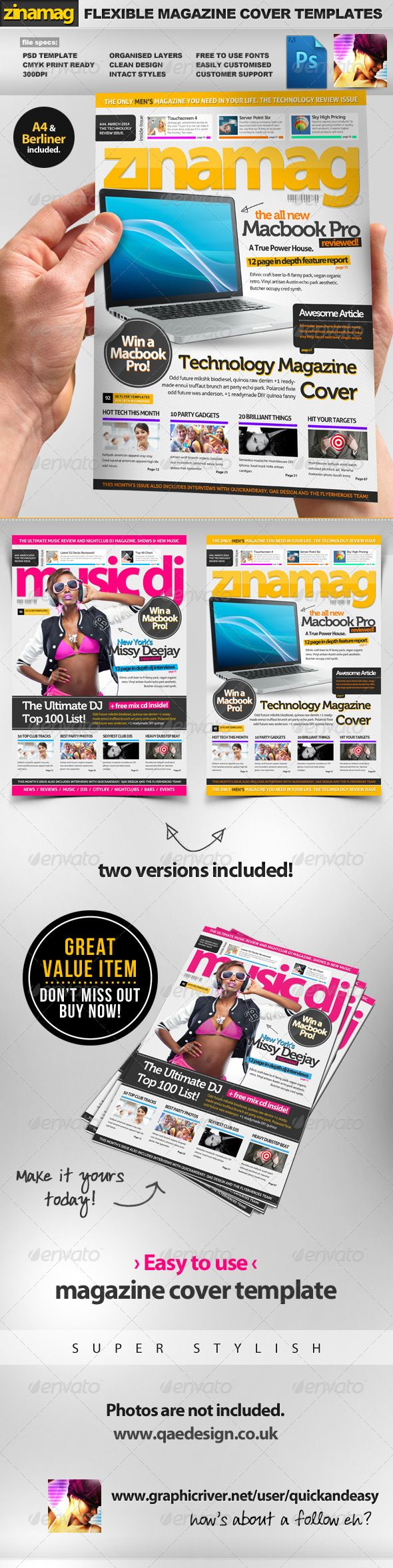 ZinaMag A4 / Berliner PSD Magazine Cover Templates — Photoshop PSD #basic #pink • Available here → https://graphicriver.net/item/zinamag-a4-berliner-psd-magazine-cover-templates/1818427?ref=pxcr