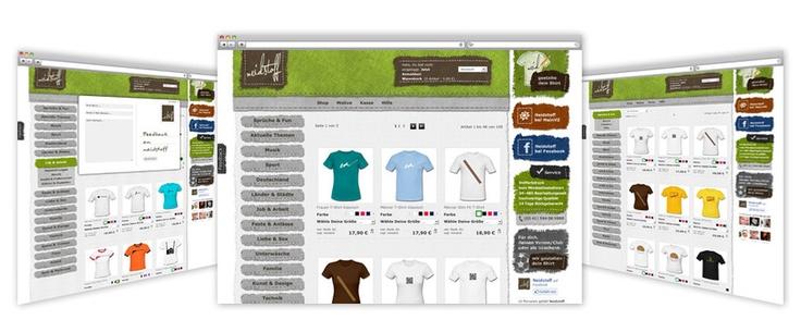 Webshop | Neidstoff    neidstoff.de ist ein Onlineshop für individuell gestaltete T-Shirts, Sweat-Shirts und andere textile Produkte. Bei der Gestaltung wurden textile Designelemente verwendet und bewußt eine junge frische der Zielgruppe entsprechende Gestaltung gewählt. Die potentiellen Kunden können sich fertig gestaltete Produkte aus vielfältigen Kategorien bestellen, oder sich selbst individuelle Bekleidungsstücke mit vorgefertigten Motiven gestalten.    www.neidstoff.de