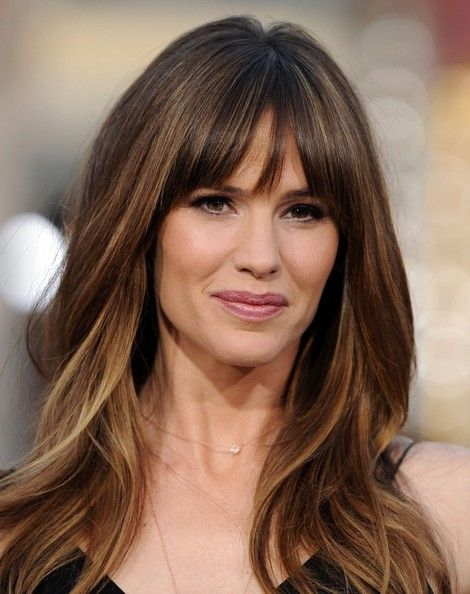Long Bang Hairstyles 12 fantastic long hairstyles with bangs Jennifer Garner Draft Day Premieres At The Regency Village Theatre On April