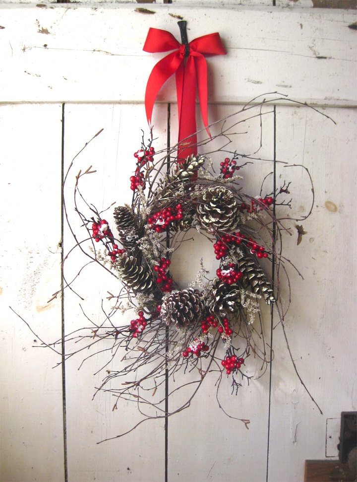 Christmas Wreath - Winter Wreath - Nordic Winter Christmas Wreath - Berry Wreath - Pine Cone - Scandinavian Decor. $64.00, via Etsy.