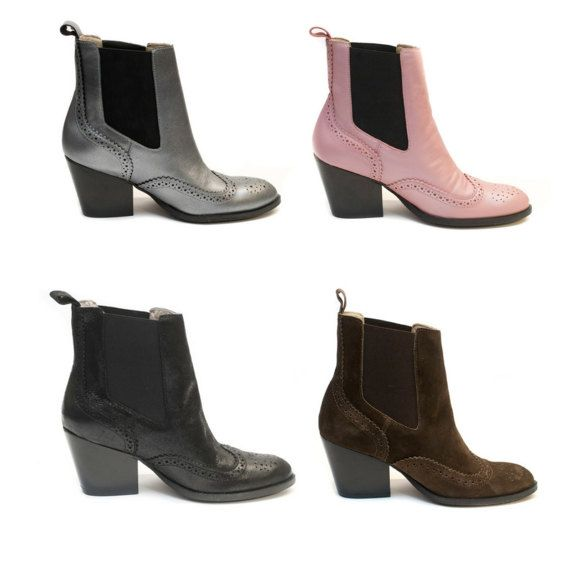 Pink chelsea boots has been crafted in supple pink leather with traditional brogue detailing and finished with a soft pointed toe. The mid block heel allows for this design to seamlessly transition from workwear to evening dinners. These shoes also have our unique pads for unbeatable