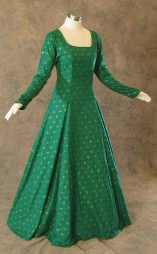 69ea8649cda Medieval-Renaissance-Gown-Green-Gold-Dress-Costume-LOTR-Wedding-Wicca-4X