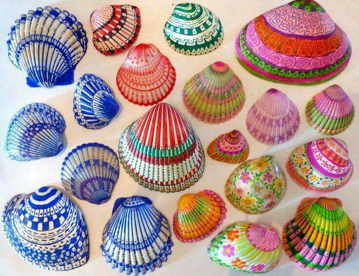 Fine point sharpies on seashells