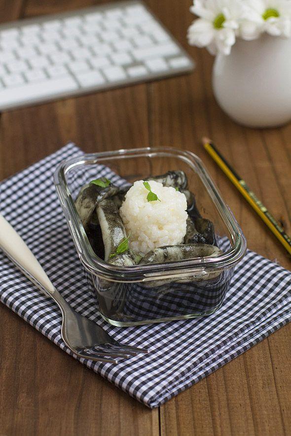 Cocinando sabores: Recetas para tupper: Calamares en su tinta con arroz