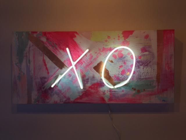 "XO Acrylic, gold and copper leaf on panel 18"" x 40"" $1370"