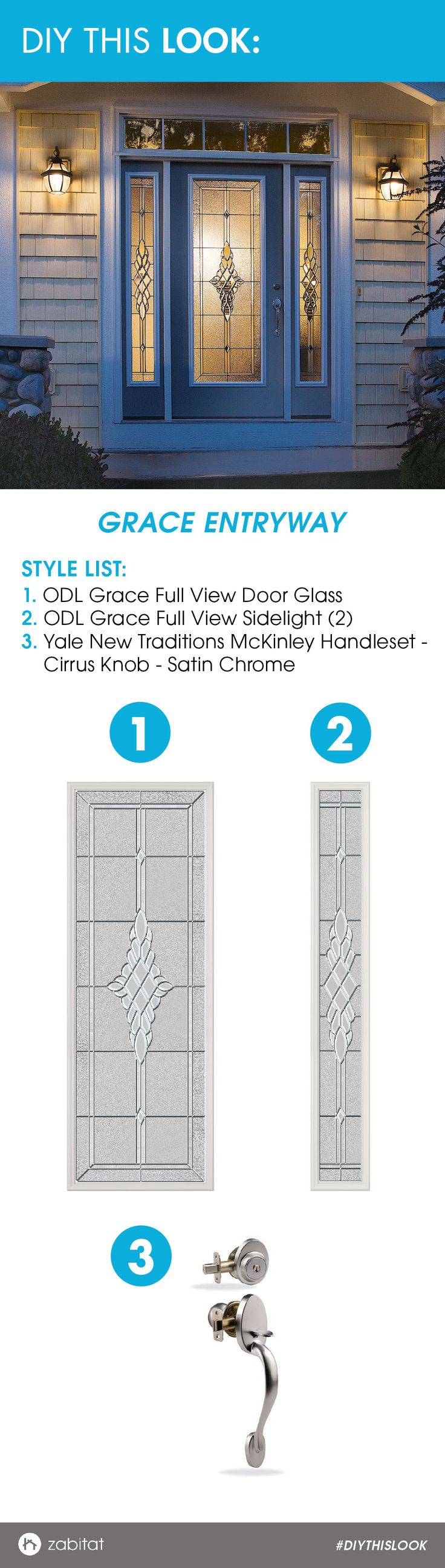 ODL Grace Door Glass Insert paired with a Yale New Traditions Satin Chrome Handleset.