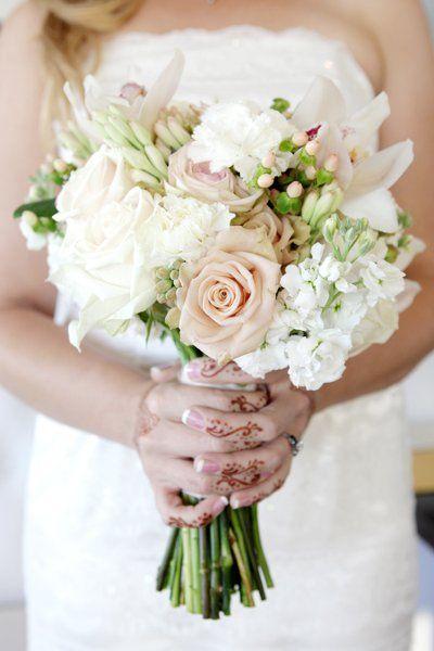 A beautiful white and blush bouquet