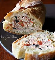 Stuffed Baguette... easy, make-ahead party food. 1 concept with a 1,000 variations to play with