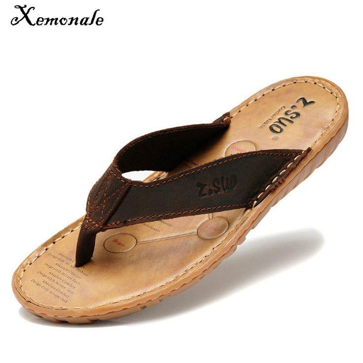Xemonale Men Flip Flops Genuine Leather Slippers Summer Fashion Beach Sandals Shoes for Men Plus Size Eur 38-47 Pantufa Hot Sell #Affiliate