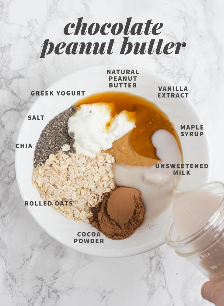 Chocolate Peanut Butter Overnight Oats ⅓ cup plain Greek yogurt ½ cup (heaping) rolled oats ⅔ cup unsweetened milk of choice 1 tablespoon chia seeds or ground flaxmeal ½ teaspoon vanilla extract 2 tablespoons natural peanut butter 2 tablespoons unsweetened cocoa powder Pinch of salt 0-2 tablespoons honey or maple syrup