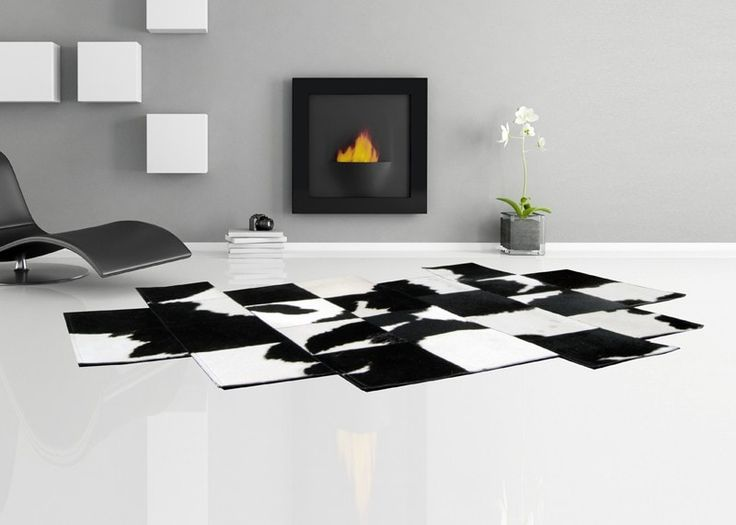 "Think outside the box! ""Pixel"" asymmetric black & white patchwork cowhide rug. https://www.furhome.gr/shop/en/patchwork-cowhide-rug-pixel-black-white-246.html"