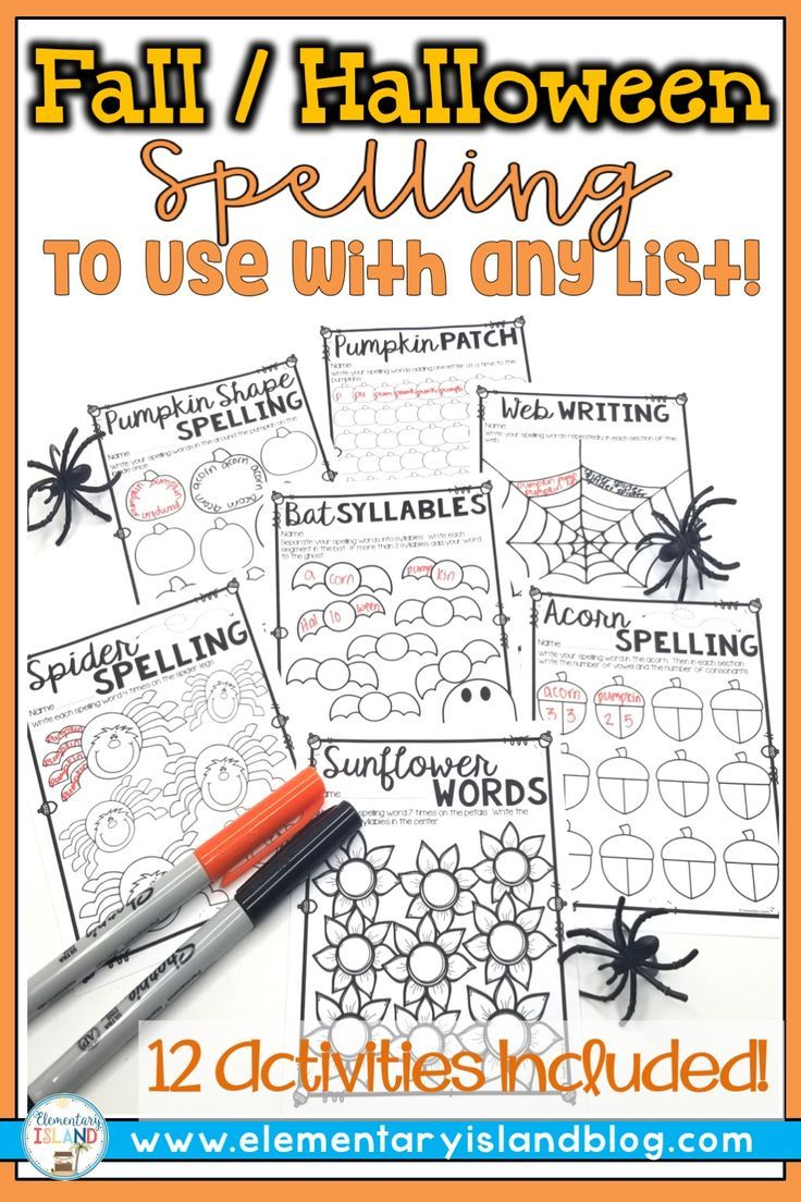 halloween spelling and fall activities for any list halloween all grades spelling activities. Black Bedroom Furniture Sets. Home Design Ideas