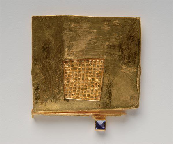 Robert Smit Brosche - Gold, Saphir - 55x52x6mm -