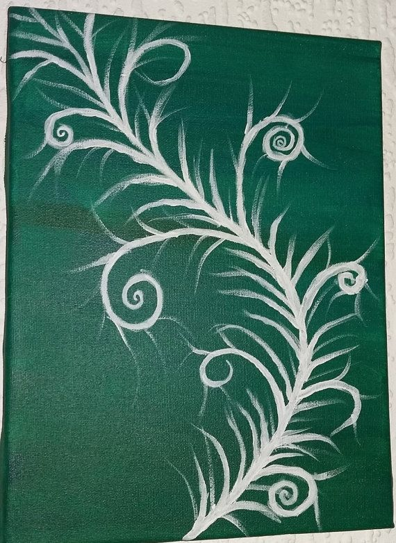 White Fern Unfurling  On Green Background A4 size by artatDLC
