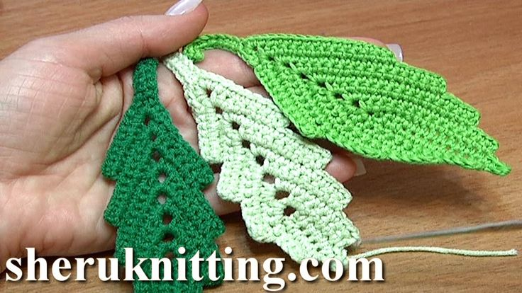 How To Crochet Two-Side Leaf With Chain Spaces In The Middle Tutorial 1