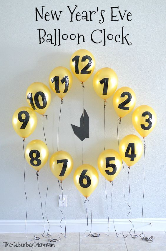Kids will love using this DIY New Year's Eve Balloon Clock Countdown to keep track of the hours 'til midnight, also makes a great NYE party photo background.