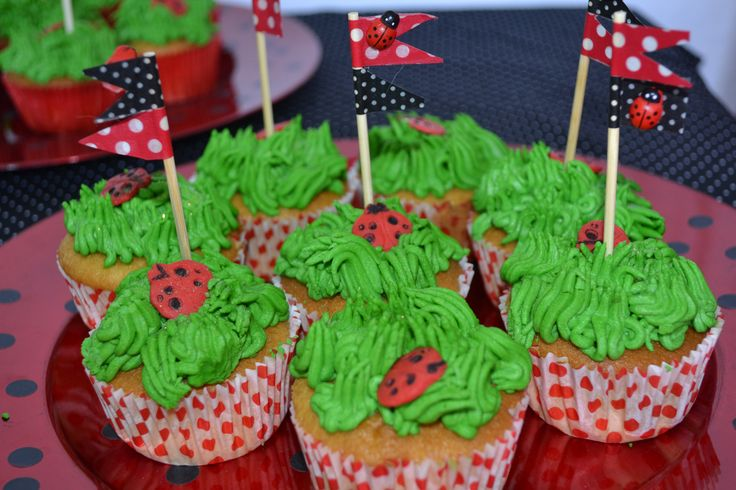 Ladybird cupcakes with washi tape flags