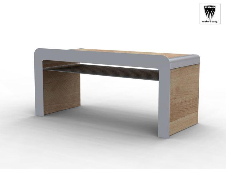 Bancò in legno Bancone in legno con cornice stondata, struttura in alluminio anodizzato, può essere rivestito in vari modi (vedi tabella). Il suo particolare design lo rende ideale per negozi