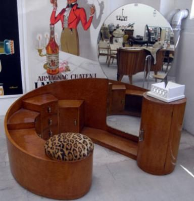 Art Deco Dressing Table Unit Awesome Piece Of European Design In Russian Birch Circular Dresser With Seating Full Length Mirror And All The Storage Space