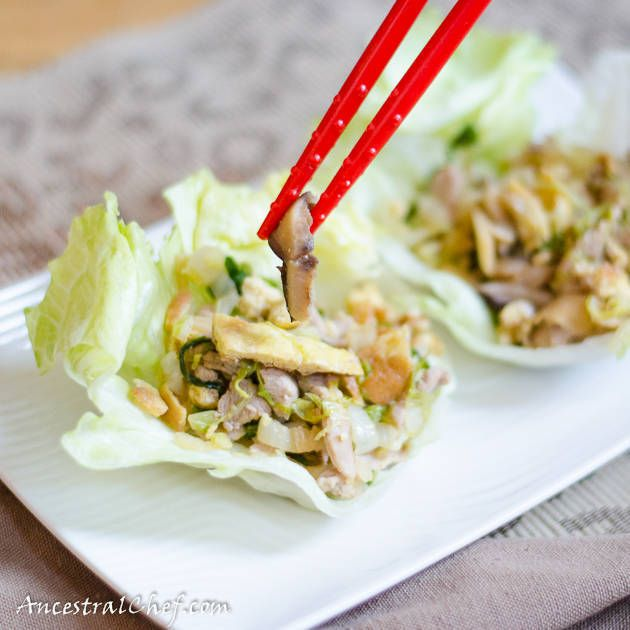 A traditional Chinese recipe for mu shu pork with lettuce wraps.