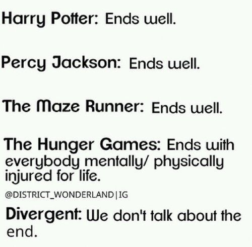 Well i didn't read percy but i'll assume so and divergent i haven't read but i guess i would agree once i read it lol
